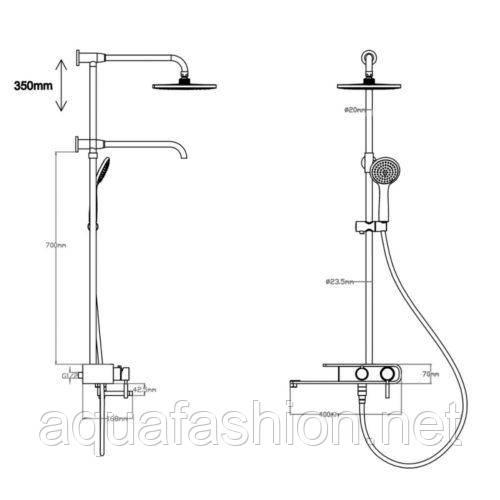 Біла душова колона з виливом Q-TAP 1109