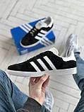 Стильні кросівки Adidas Gazelle Black / Адідас газелі чорні, фото 5