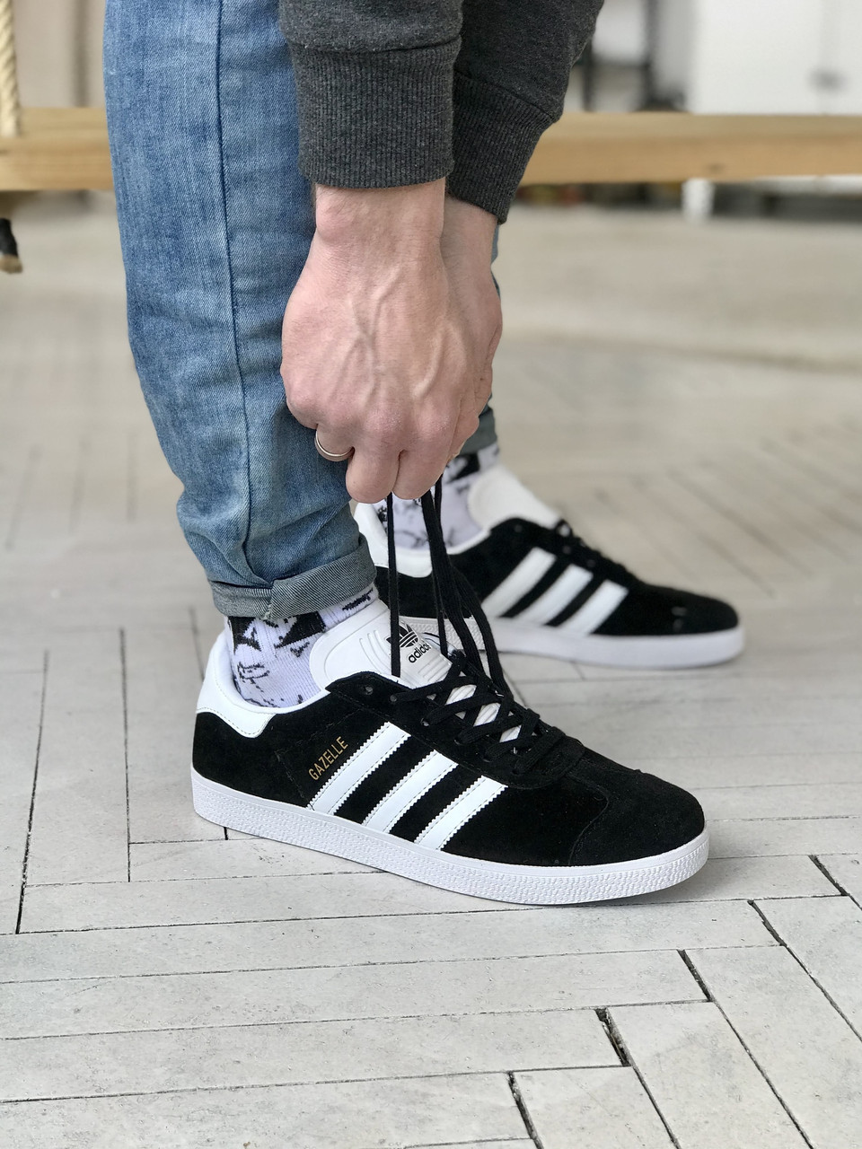 Стильні кросівки Adidas Gazelle Black / Адідас газелі чорні