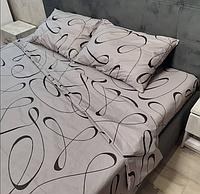 Красивое качественное постельное белье семейное, серое