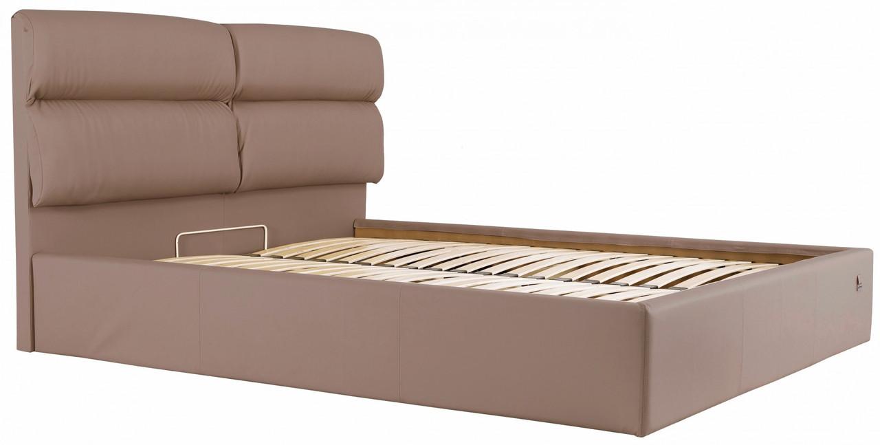 Кровать Oxford Comfort 140 х 190 см Fly 2213 С подъемным механизмом и нишей для белья Светло-коричневая
