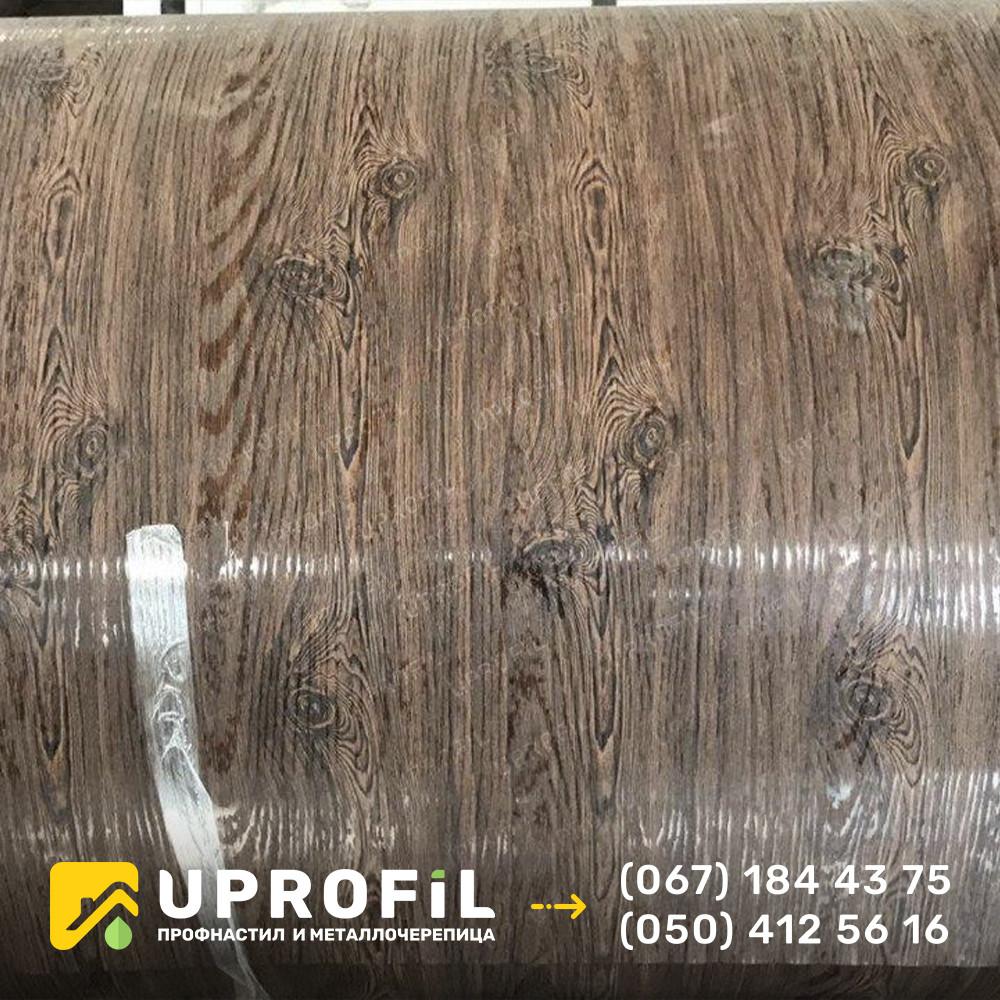 Профнастил под дерево Орех 3д двухсторонний 0.40 мм. для Забора ПС-10
