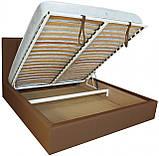 Кровать Richman Санам 120 х 190 см Флай 2213 A1 С подъемным механизмом и нишей для белья Светло-коричневая, фото 4