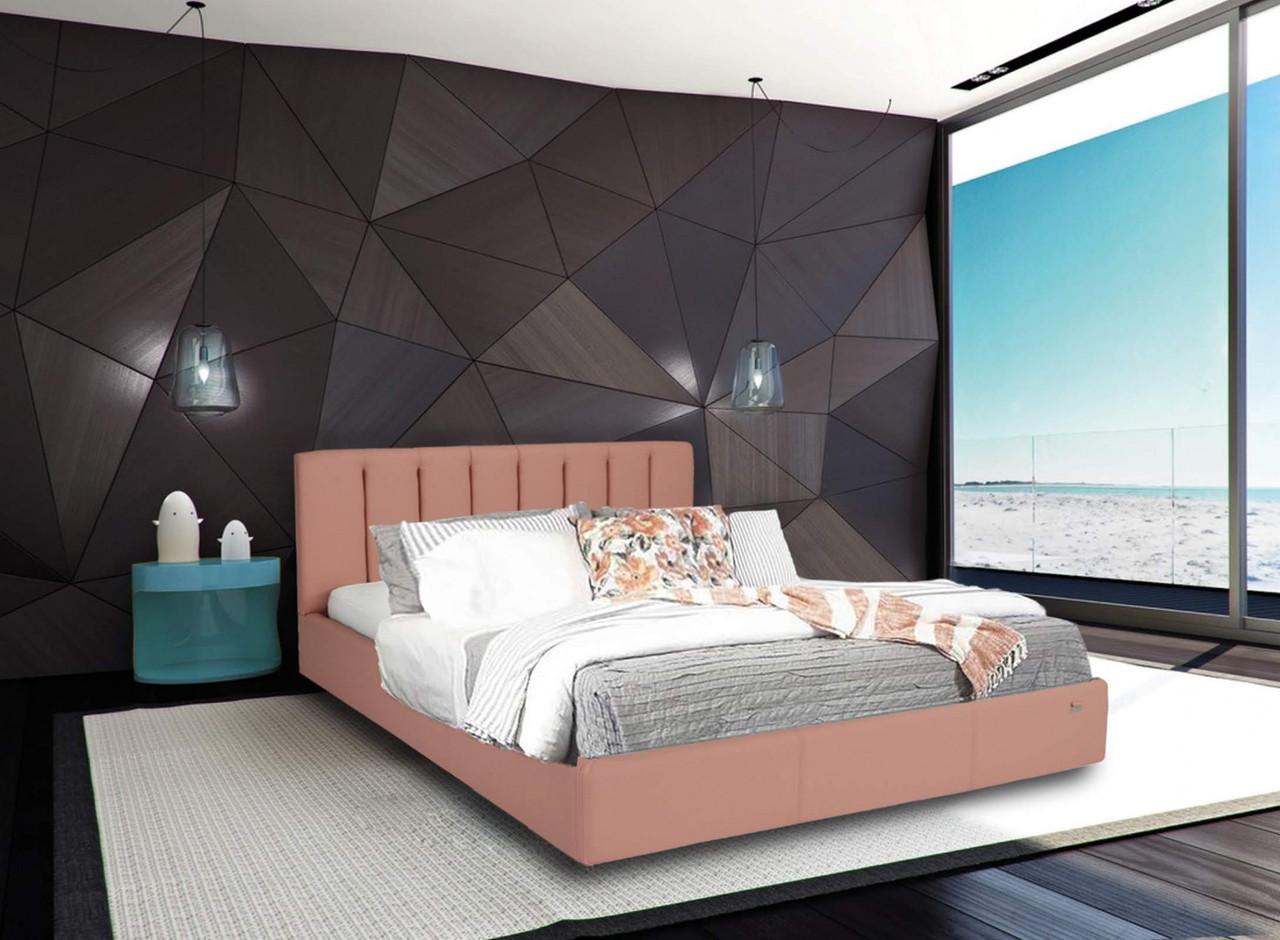 Ліжко Richman Санам 140 х 200 см Флай 2202 З підйомним механізмом і нішею для білизни Рожева