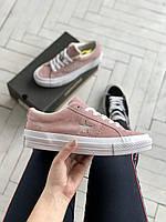Стильные женские кеды Converse Pink/ Конверс розовые, фото 1