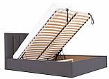 Кровать Двуспальная Richman Санам 160 х 200 см Мисти Dark Grey С подъемным механизмом и нишей для белья, фото 6