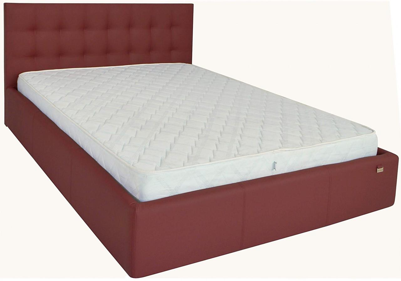 Кровать Richman Честер 120 х 190 см Флай 2223 С подъемным механизмом и нишей для белья Бордовая