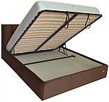 Кровать Richman Честер 140 х 190 см Missoni 011 С подъемным механизмом и нишей для белья Темно-коричневая, фото 4