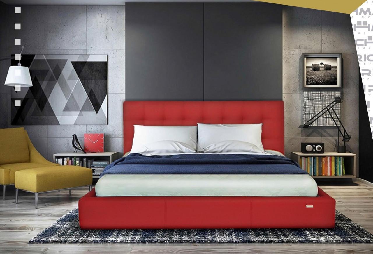 Кровать Richman Честер 140 х 190 см Флай 2210 С подъемным механизмом и нишей для белья Красная