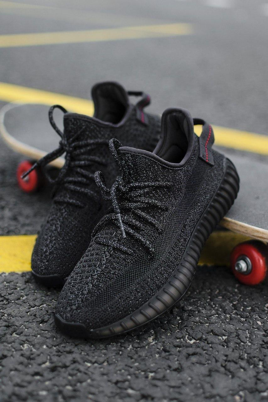 Стильні кросівки Adidas Yeezy Boost 350 V2 Black REFLECTIVE (Адідас Ізі Буст 350 РЕФЛЕКТИВ)