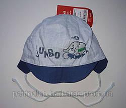Детская летняя кепка на завязках Pafcio для мальчика голубая (Broel, Польша)