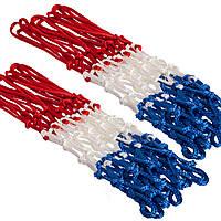 Сетка баскетбольная PS-2603P (полиэстер, 12 петель, цвет белый-красный-синий, в компл. 2 шт.)