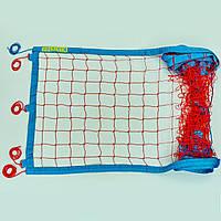 Сетка для пляжного волейбола Транзит SO-0951 (синтетический шнур 2,5мм, р-р 8,5x1м, ячейка 10см,паракорд, желтый-синий, красный-синий)