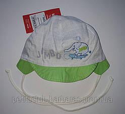 Детская летняя кепка на завязках Pafcio для мальчика бежево-салатовая (Broel, Польша)