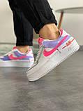 """Кроссовки Nike Air Force 1 """"Shadow"""" Double Swoosh Sail Pink Purple, фото 2"""