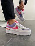 """Кроссовки Nike Air Force 1 """"Shadow"""" Double Swoosh Sail Pink Purple, фото 4"""