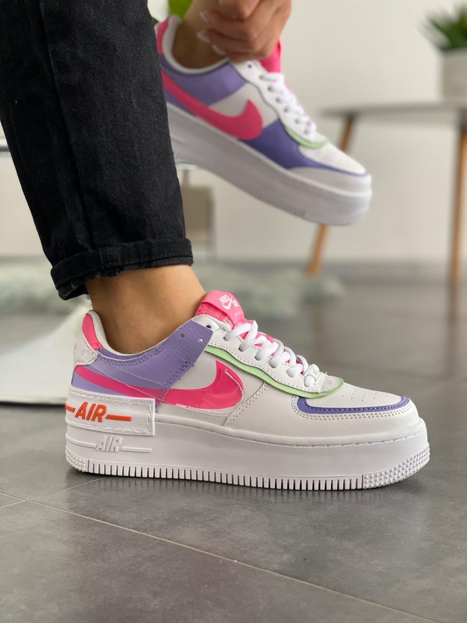 "Кроссовки Nike Air Force 1 ""Shadow"" Double Swoosh Sail Pink Purple"