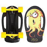 Скейтборд пластиковый FISH Nemo 17in SK-420-2 (PC, ABEC-7, колесо PU 60x45мм 82А, черный-желтый), фото 1