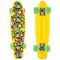 Скейтборд пластиковый Penny 22in со светящимися колесами SK-881-1 с рисунком (колесо-PU, р-р деки 56х15см,желтый)