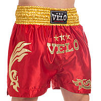 Шорты для тайского бокса и кикбоксинга VELO ULI-9200 (полиэстер, р-р S-XL (44-52), цвета в ассортименте)