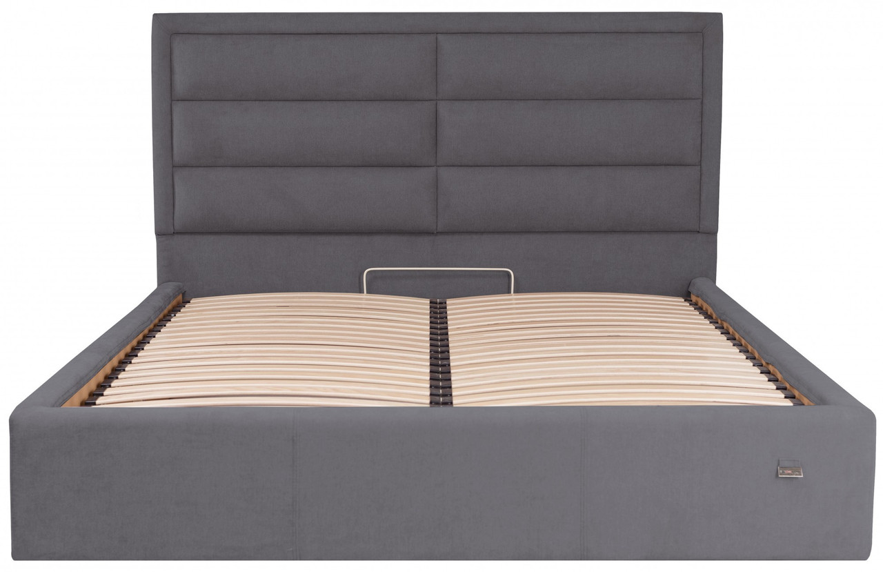 Кровать Двуспальная Orlando Comfort 160 х 190 см Мисти Dark Grey С подъемным механизмом и нишей для белья