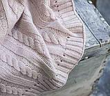 Покрывало вязаное КЛАССИК 220x240 пудра Vividzone (бесплатная доставка), фото 2