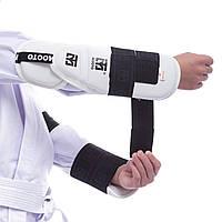 Защита предплечья и локтя для тхэквондо MTO BO-0396 (PU, р-р S-M, крепление на липучках, белый)