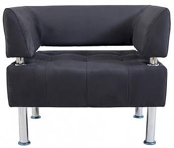 Кресло Office Единица 680 x 680 x 750H см Со спинкой и подлокотниками Нубук 11 Черное