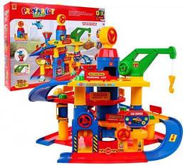 Парковка детская с подвижными элементами  70 деталей.Детский гараж с машинками 866-5