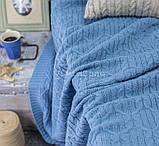 Покрывало вязаное МЕЛОДИ 200х220 голубой Vividzone (бесплатная доставка), фото 2