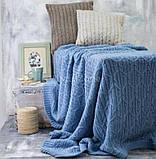 Покрывало вязаное МЕЛОДИ 200х220 голубой Vividzone (бесплатная доставка), фото 3