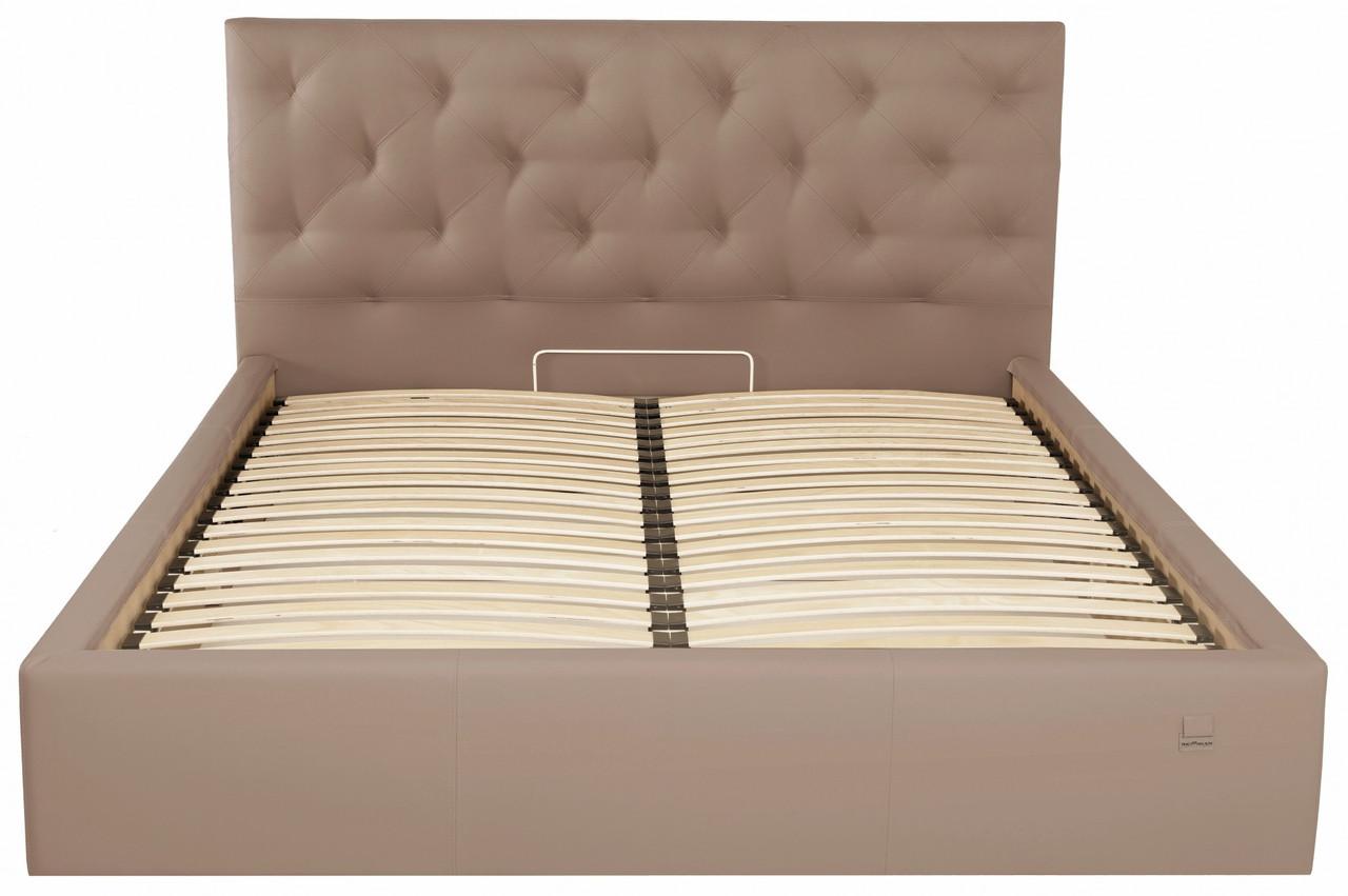 Ліжко Richman Брістоль VIP 120 х 190 см Флай 2213 З додаткової металевої суцільнозварний рамою Світло-коричнева