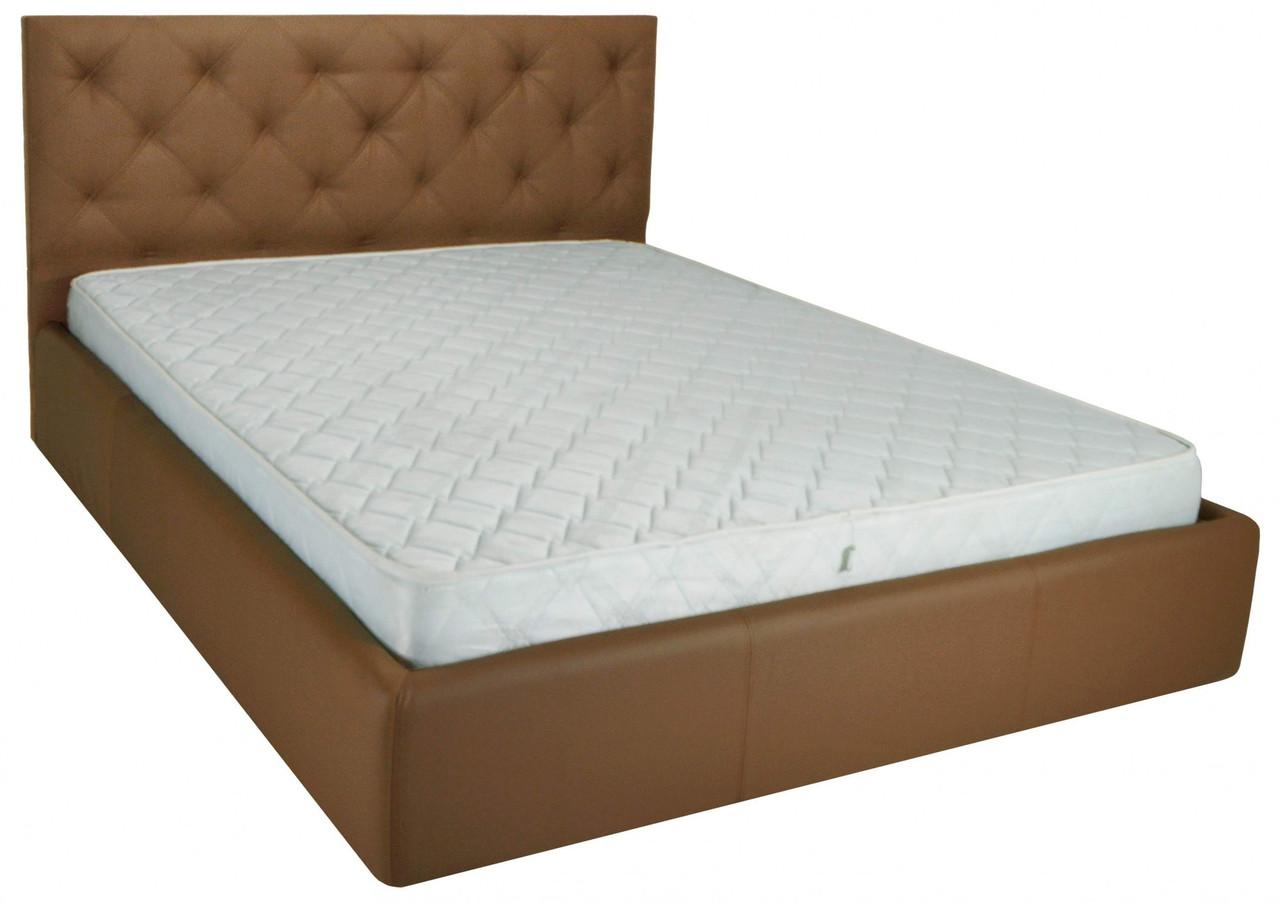 Ліжко Richman Брістоль VIP 140 х 190 см Флай 2213 A1 З додаткової металевої суцільнозварний рамою Світло-коричнева