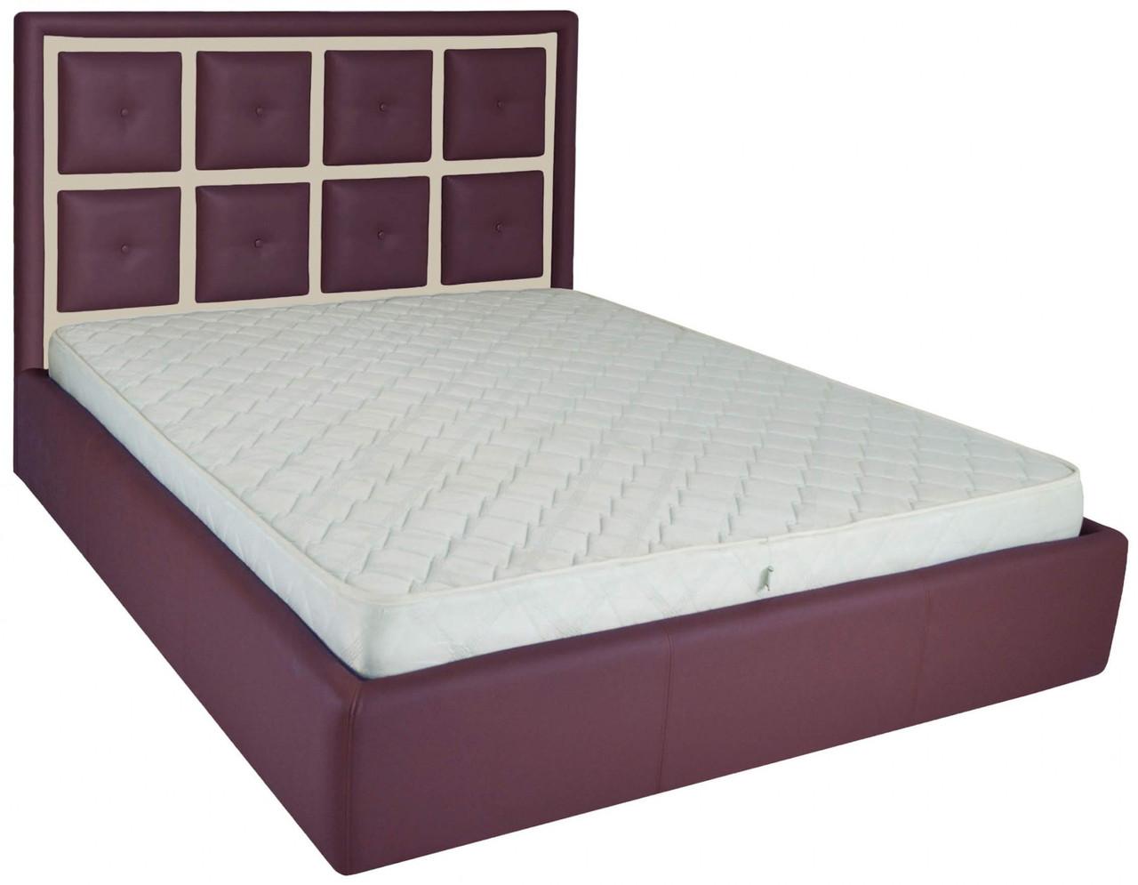 Ліжко Richman Віндзор VIP 140 х 190 см Флай 2216/2207 З додаткової металевої суцільнозварний рамою Фіолетова+Бежева