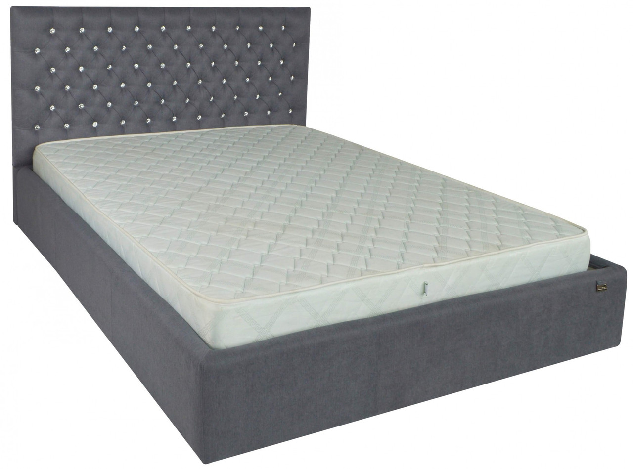 Ліжко Richman Кембридж VIP 120 х 200 см Fibril 16 С1 З додаткової металевої суцільнозварний рамою Темно-сіра