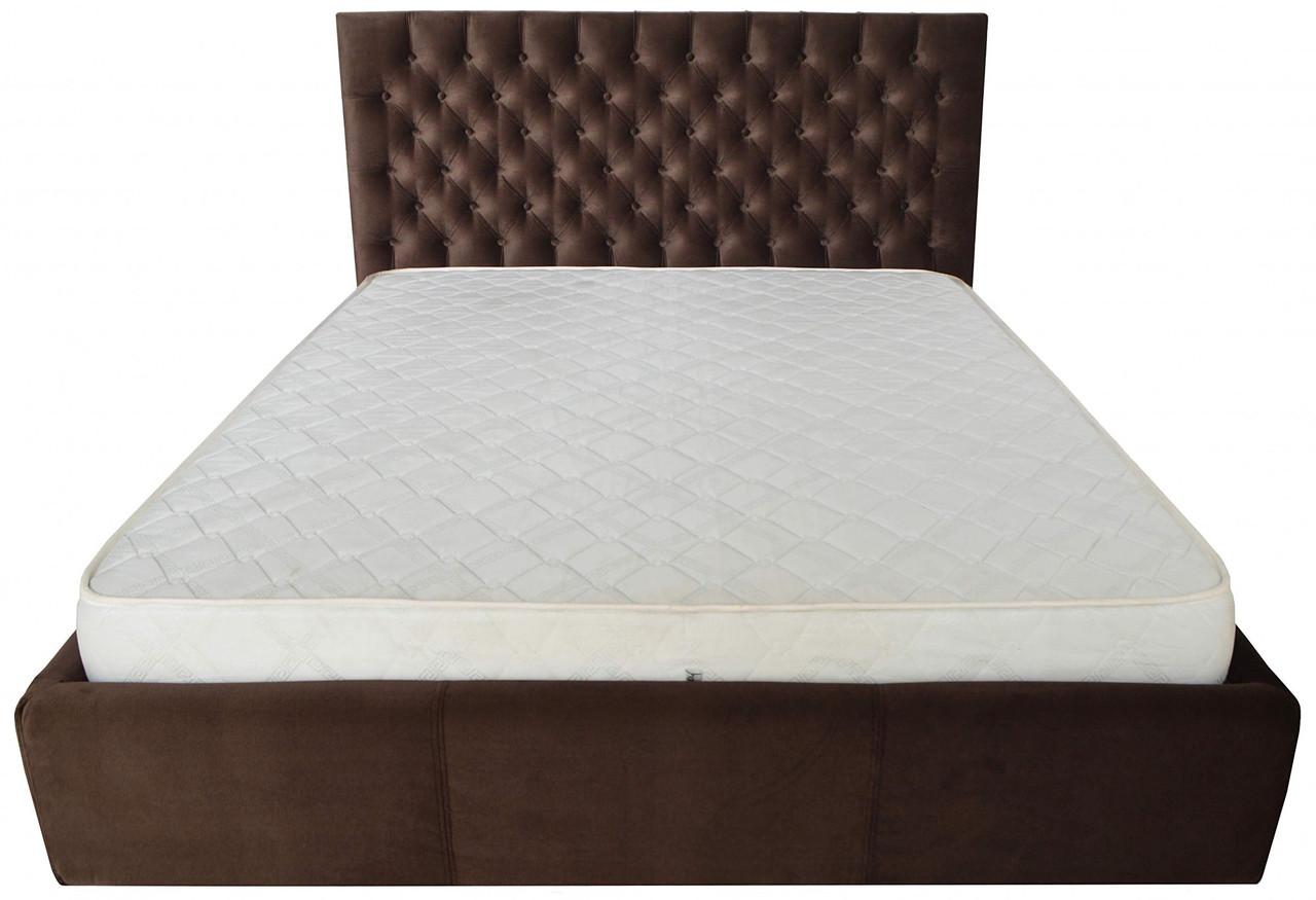Ліжко Richman Кембридж VIP 140 х 190 см Missoni 011 З додаткової металевої суцільнозварний рамою Темно-коричнева