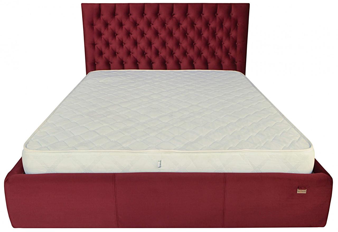 Кровать Cambridge VIP 140 х 190 см Missoni 026 С дополнительной металлической цельносварной рамой Бордовая