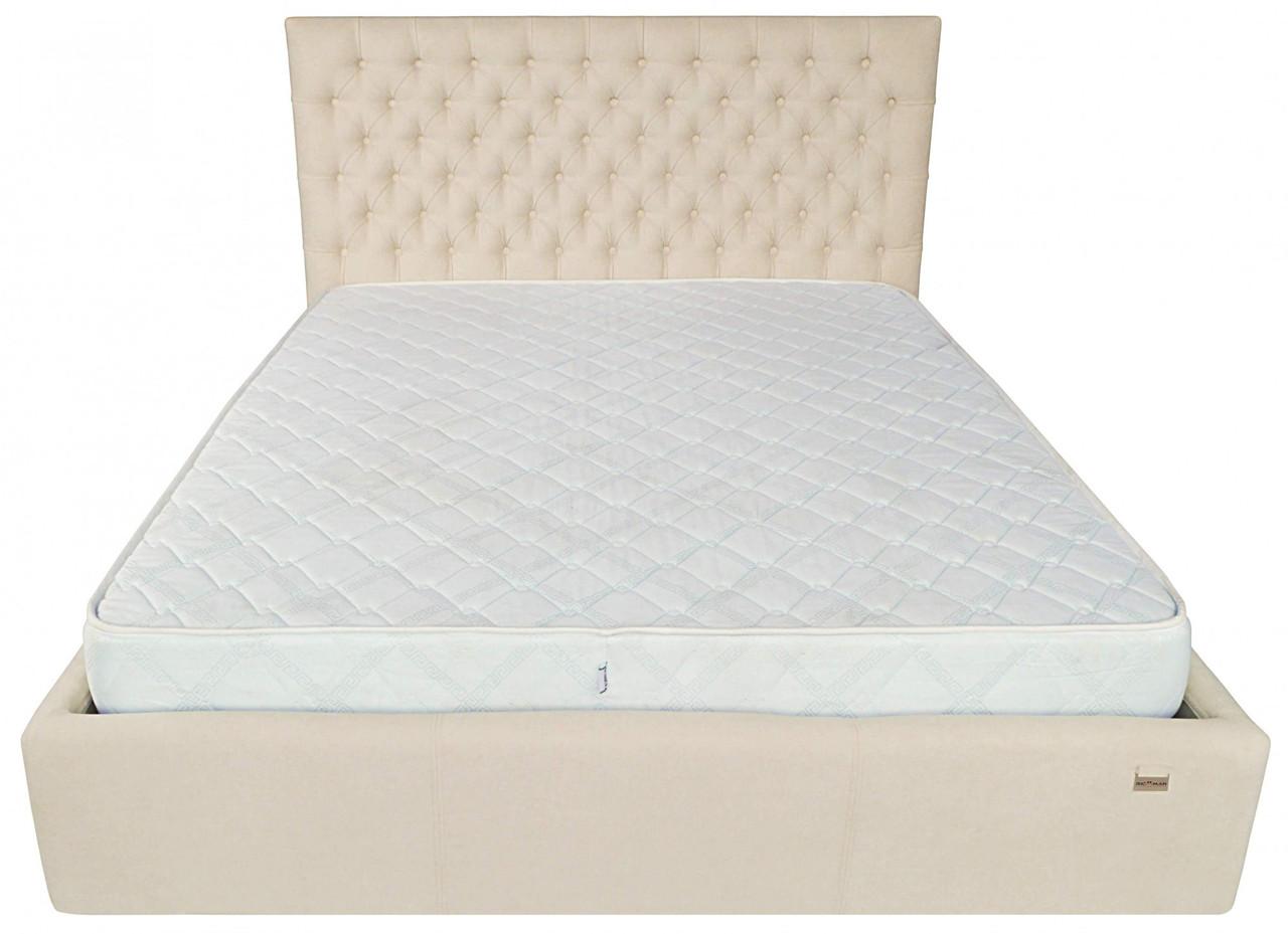 Кровать Cambridge VIP 140 х 190 см Мисти Milk A1 С дополнительной металлической цельносварной рамой Бежевая
