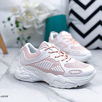 Женские кроссовки из резины и эко-кожи бело-розовые, 41 размер