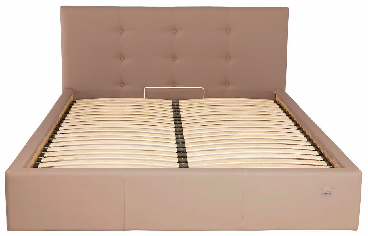 Ліжко Richman Манчестер VIP 140 х 190 см Флай 2213 З додаткової металевої суцільнозварний рамою Світло-коричнева