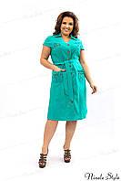 Бирюзовое женское платье в стиле сафари 360 54