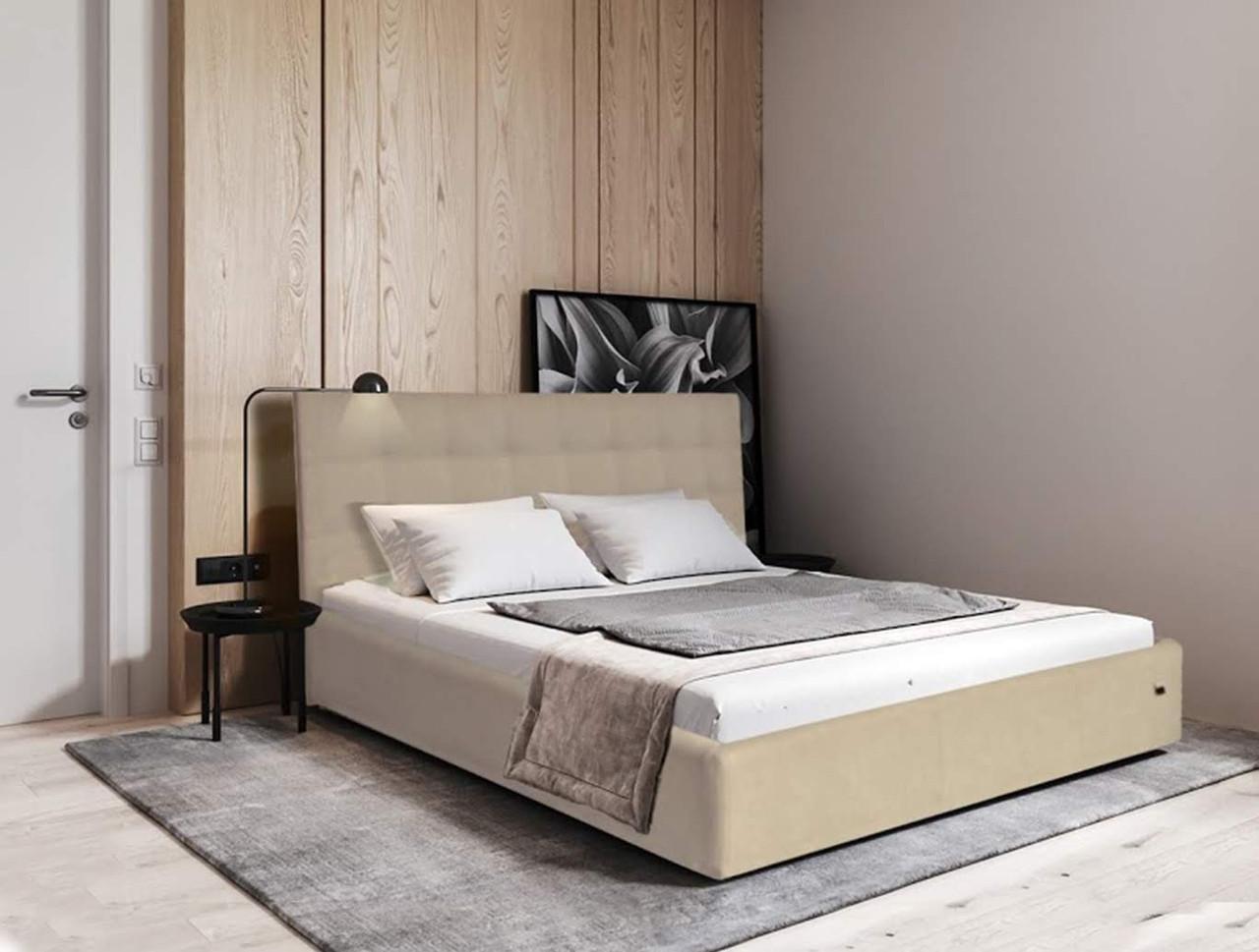 Кровать Chester VIP 140 х 190 см Флай 2207 A1 С дополнительной металлической цельносварной рамой Бежевая