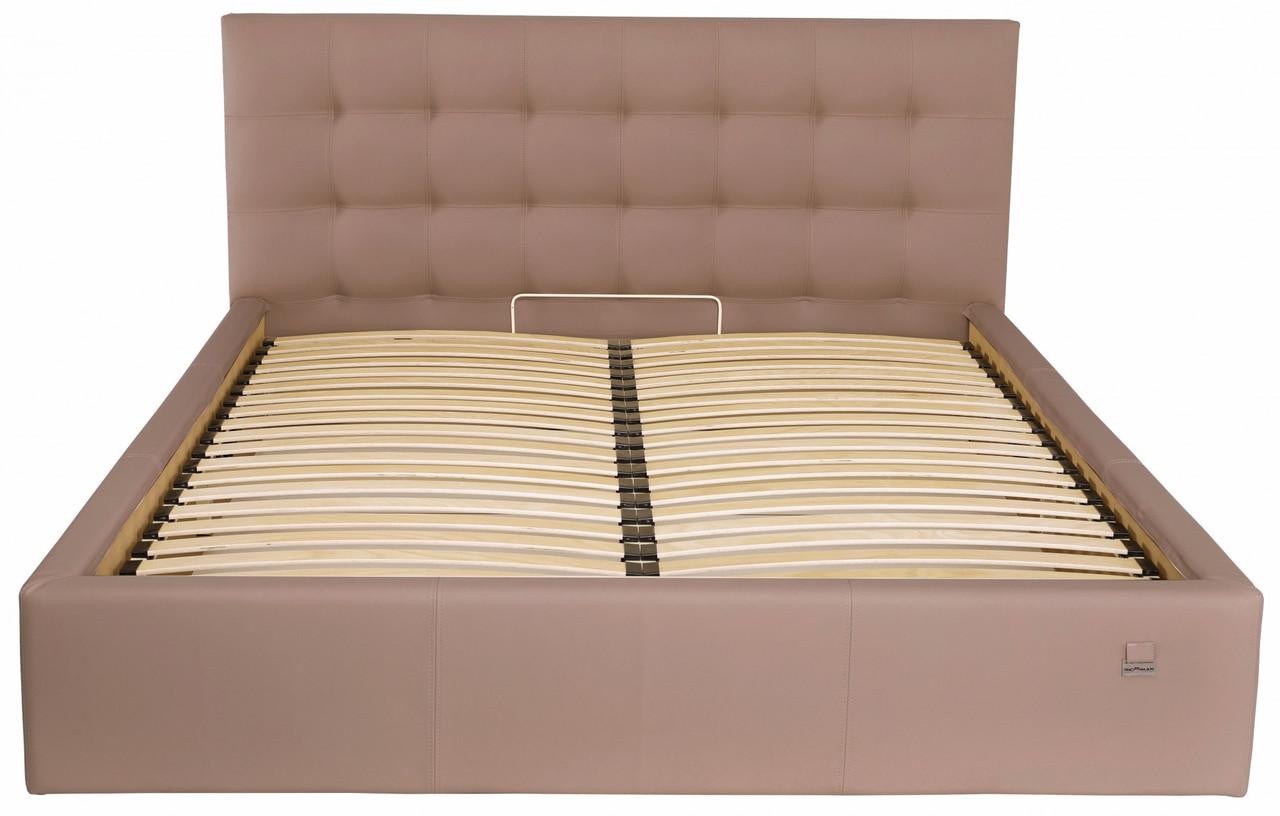 Ліжко Richman Честер VIP 140 х 190 см Флай 2213 З додаткової металевої суцільнозварний рамою Світло-коричнева