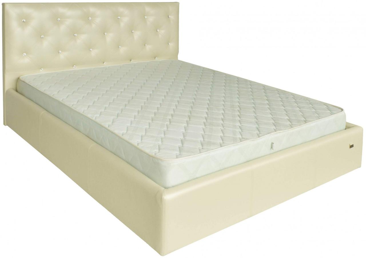 Кровать Двуспальная Bristol VIP 160 х 190 см Мадрас Перламутр 3 White С дополнительной металлической