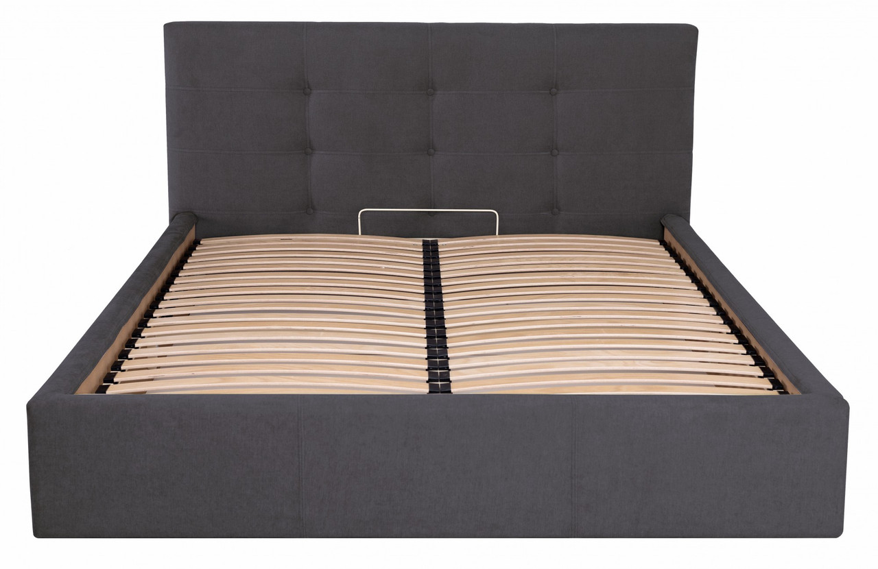 Кровать Двуспальная Manchester VIP 180 х 200 см Мисти Dark Grey С дополнительной металлической цельносварной
