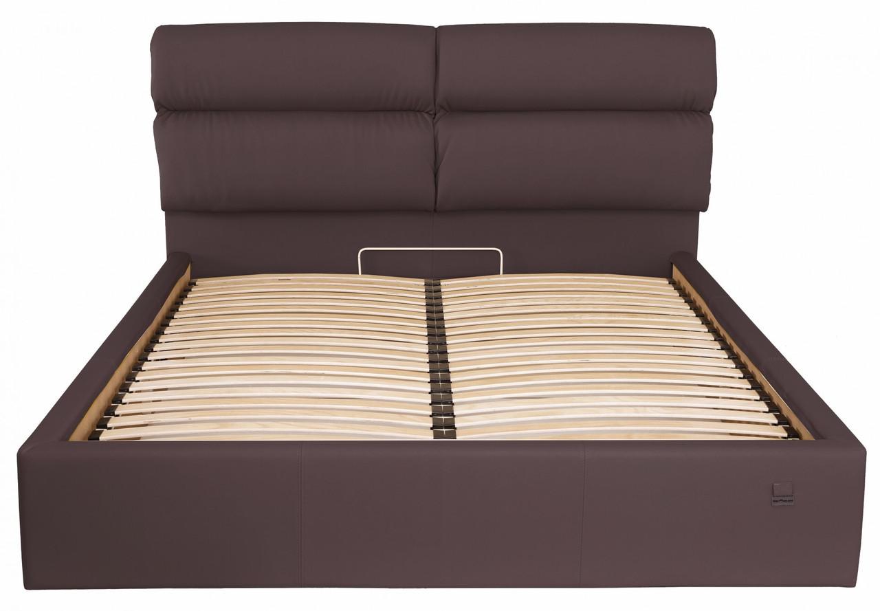 Ліжко Двоспальне Richman Оксфорд VIP 180 х 200 см Флай 2231 З додаткової металевої суцільнозварний рамою Сіра