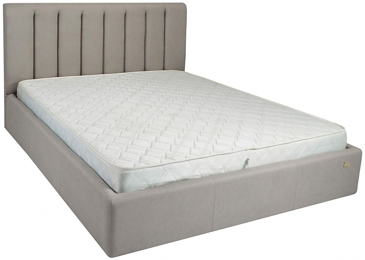 Ліжко Двоспальне Richman Санам VIP 180 х 190 см Fibril 06 З додаткової металевої суцільнозварний рамою Сіра