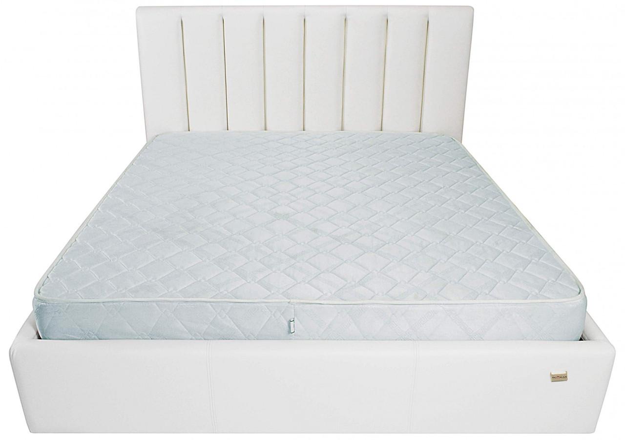 Ліжко Двоспальне Richman Санам VIP 180 х 200 см Boom 01 З додаткової металевої суцільнозварний рамою Біла