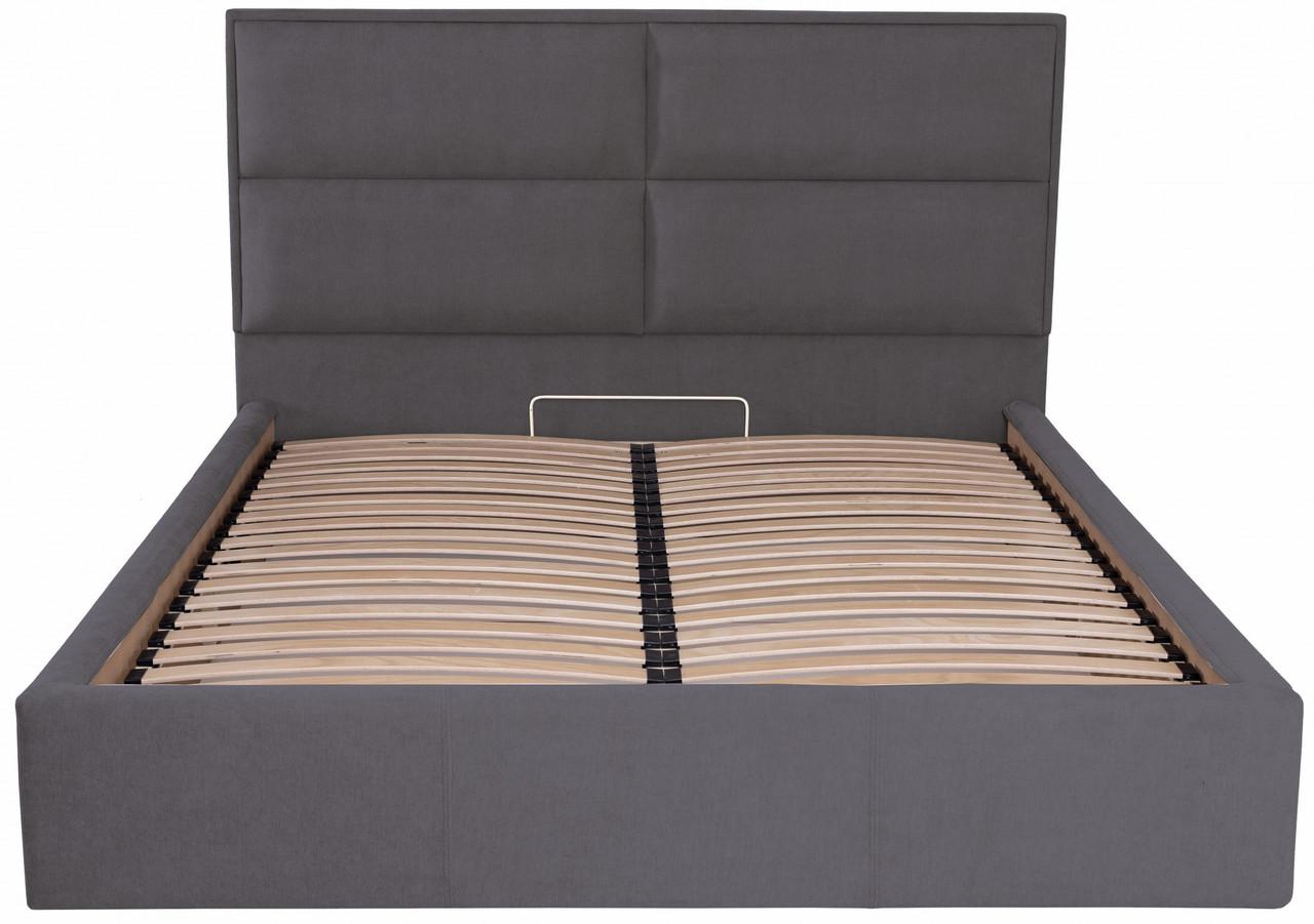 Ліжко Двоспальне Richman Шеффілд VIP 160 х 200 см Місті Dark Grey З додаткової металевої суцільнозварний рамою