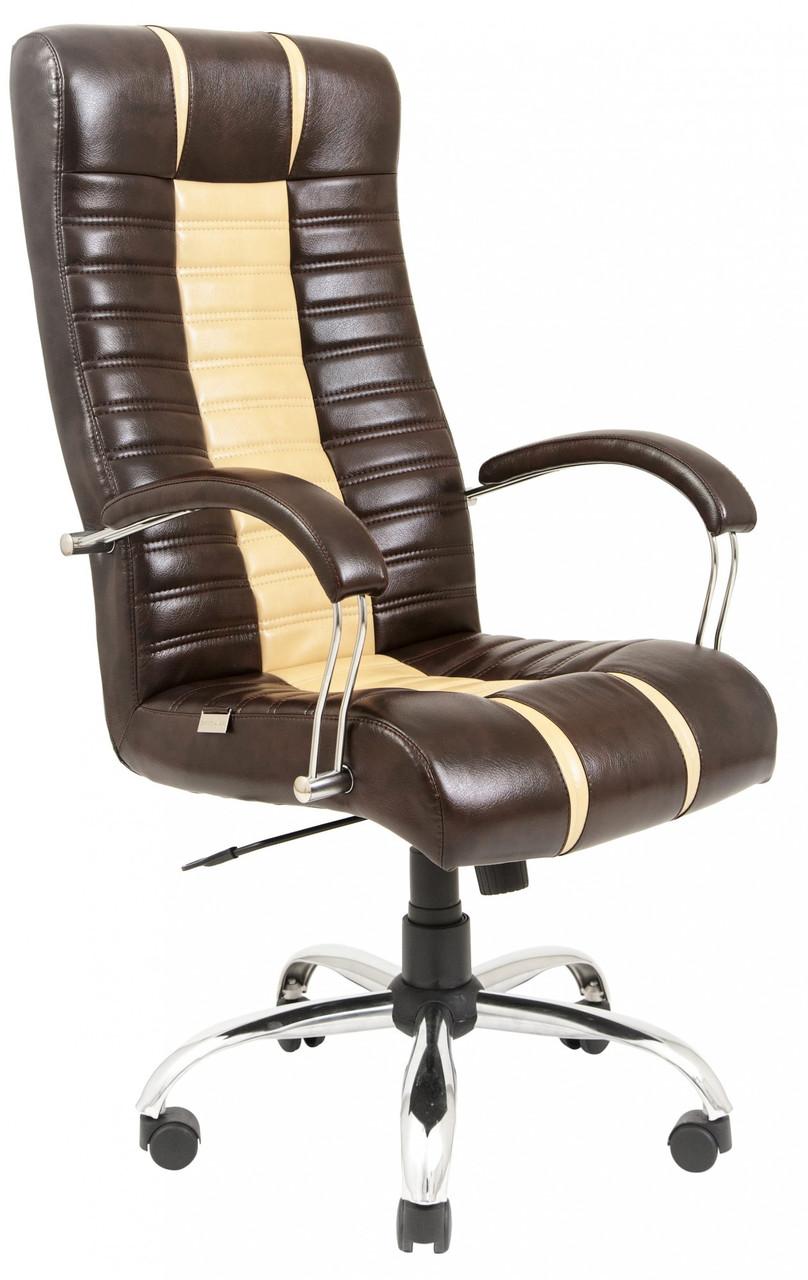 Офісне Крісло Керівника Richman Титан Атлант Dark Brown-Beige Хром М3 MultiBlock Бежево-коричневий